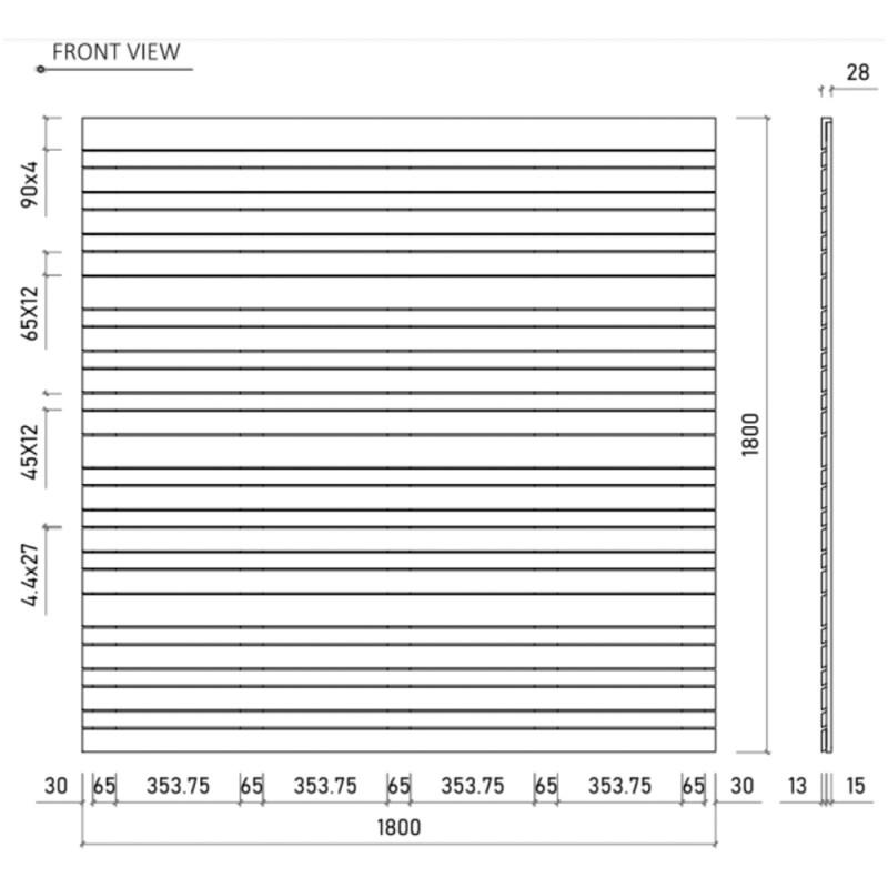 PANNEAU BOIS EXOTIQUE LINEA 180X180CM